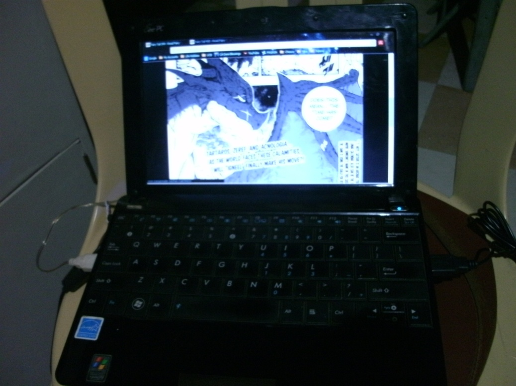 "Our smaller ASUS EEE PC Netbook, which we nicknamed Jafila (""Jandy's first love"")."